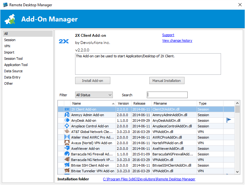 Remote Desktop Manager Add-On