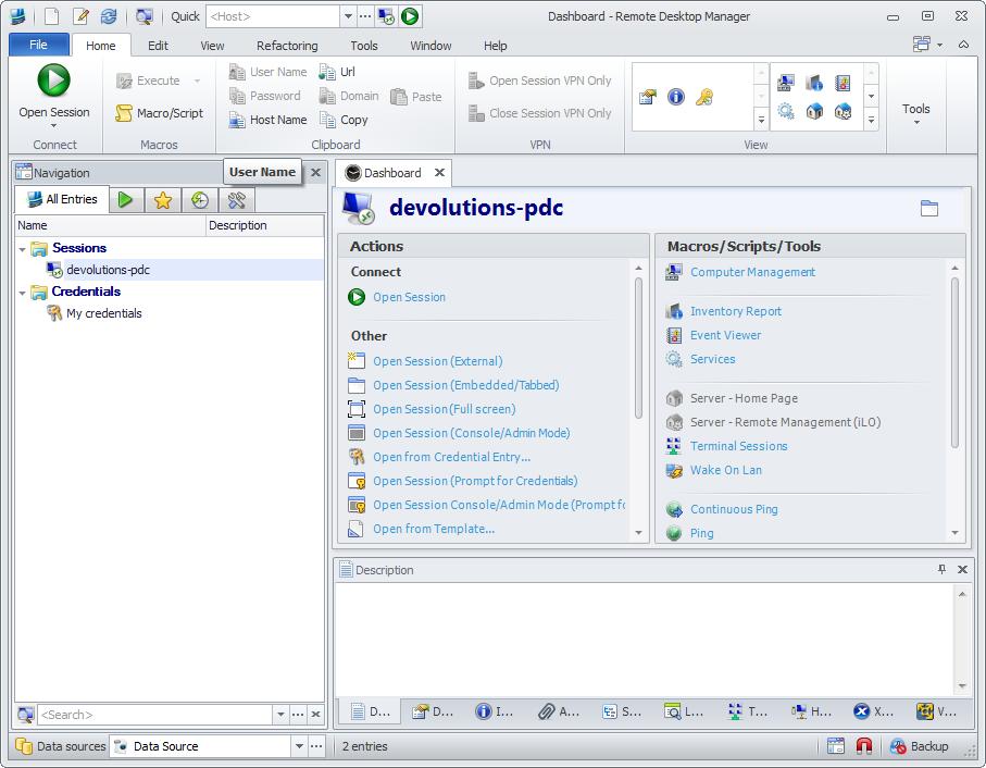 Remote Desktop Manager 8.1 User Interface