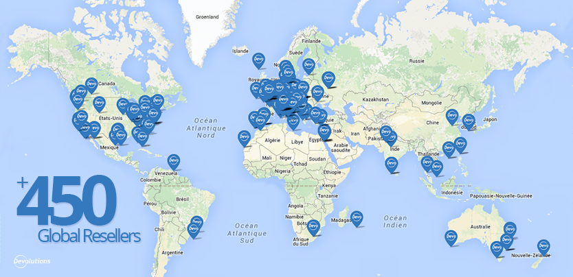 Devolutions has more than 450 resellers worldwide