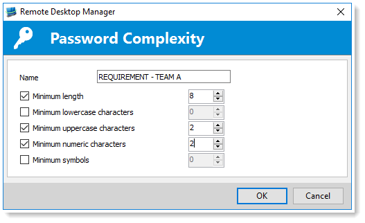 Password policy complexity the devolutions blog next enter a name for your new template and select your specific requirements including the minimum password length and the minimum number of lowercase maxwellsz