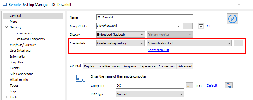 New Remote Desktop Manager Feature: Password List Credential Entry