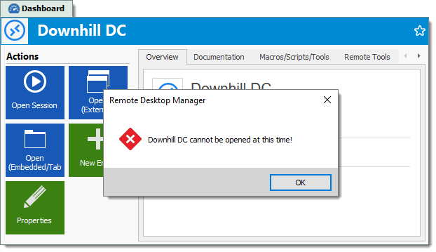 Remote Desktop Manager Time Based Feature Downhill DC cant be opened