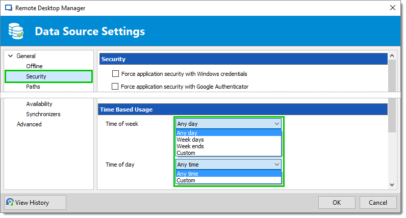 Remote Desktop Manager Time Based Feature data source settings