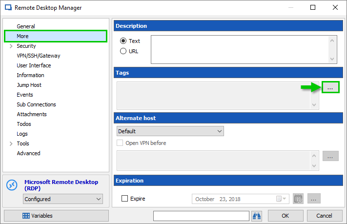 Remote Desktop Manager editing an entry