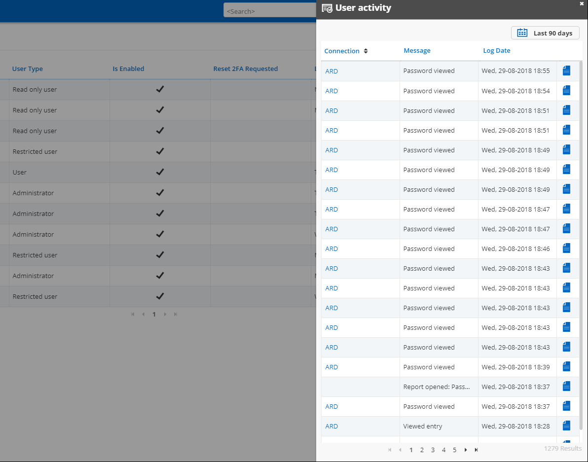 User Activity Logs In User List Screenshot
