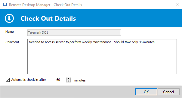 Remote Desktop Manager's Automatic Check In Feature