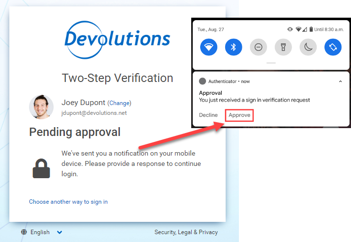 2fa devolutions account push notification