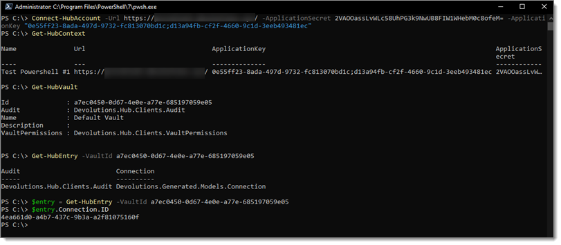 PowerShell-Password-Hub-Command-connectionID