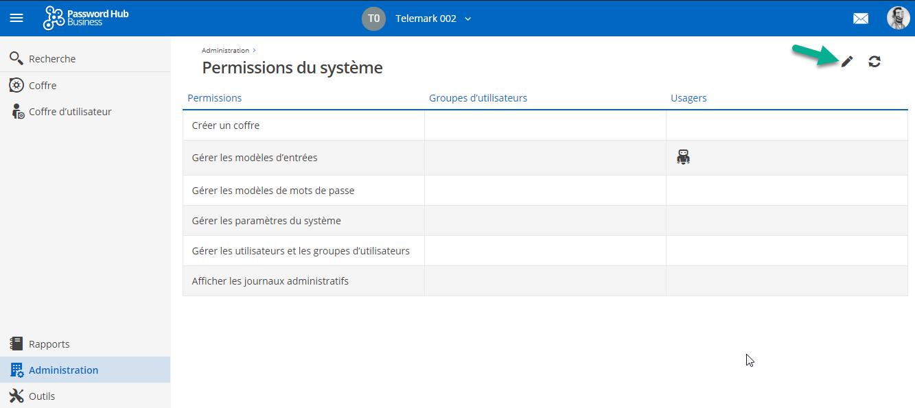 hub permissions systeme