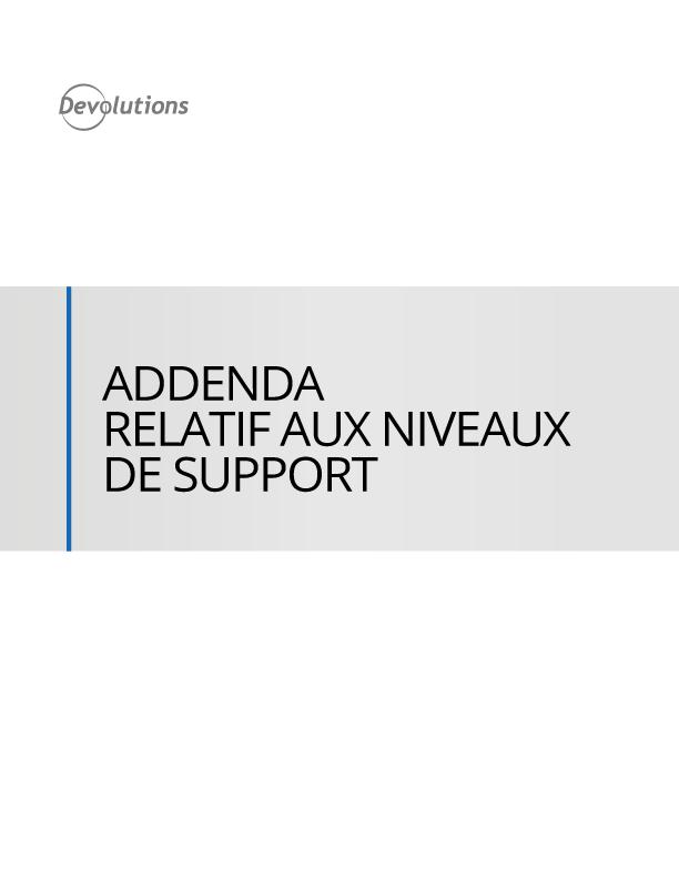 Addenda relatif aux niveaux de support