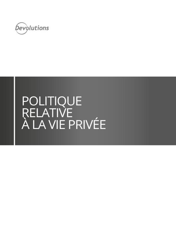 Politique relative à la vie privée