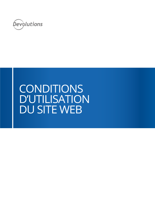 Conditions d'utilisation du site Web