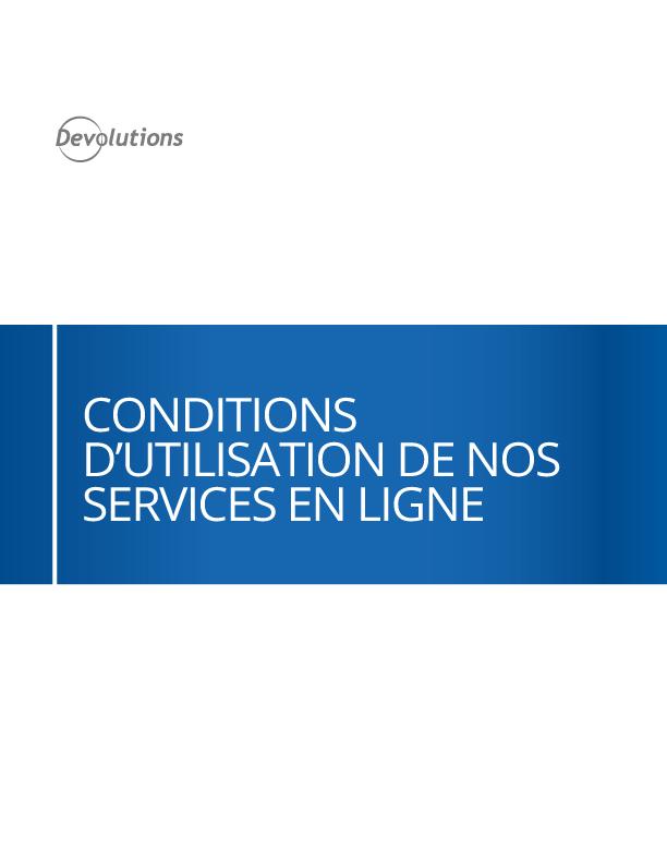 Conditions d'utilisation de nos services en ligne