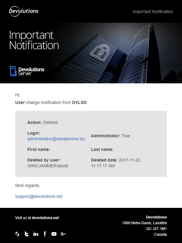 Notification par courriel en temps réel