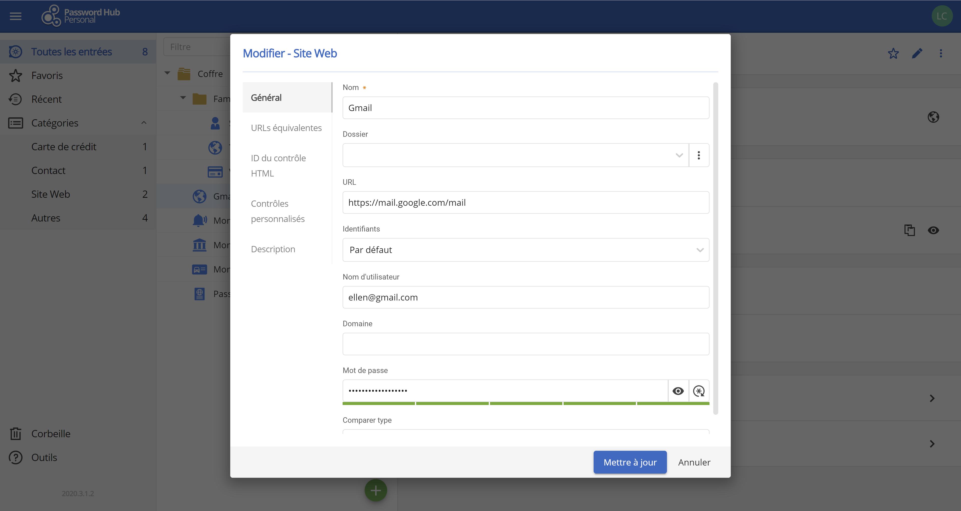 Modifiez facilement toutes vos entrées - Password Hub Personal