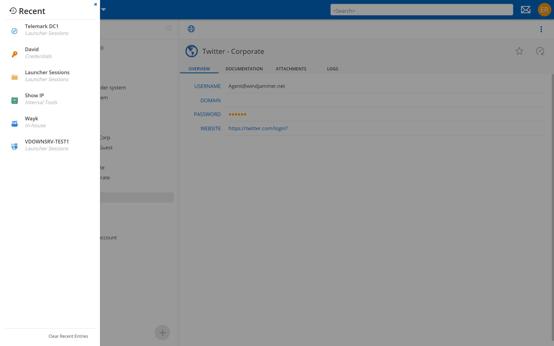 Devolutions Password Server Web Interface Recent