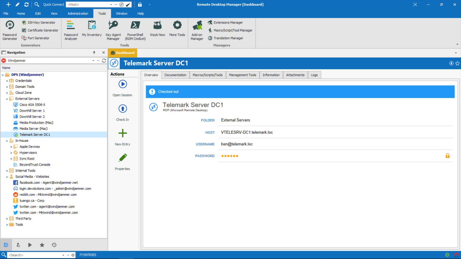 Remote Desktop Manager Main Screen