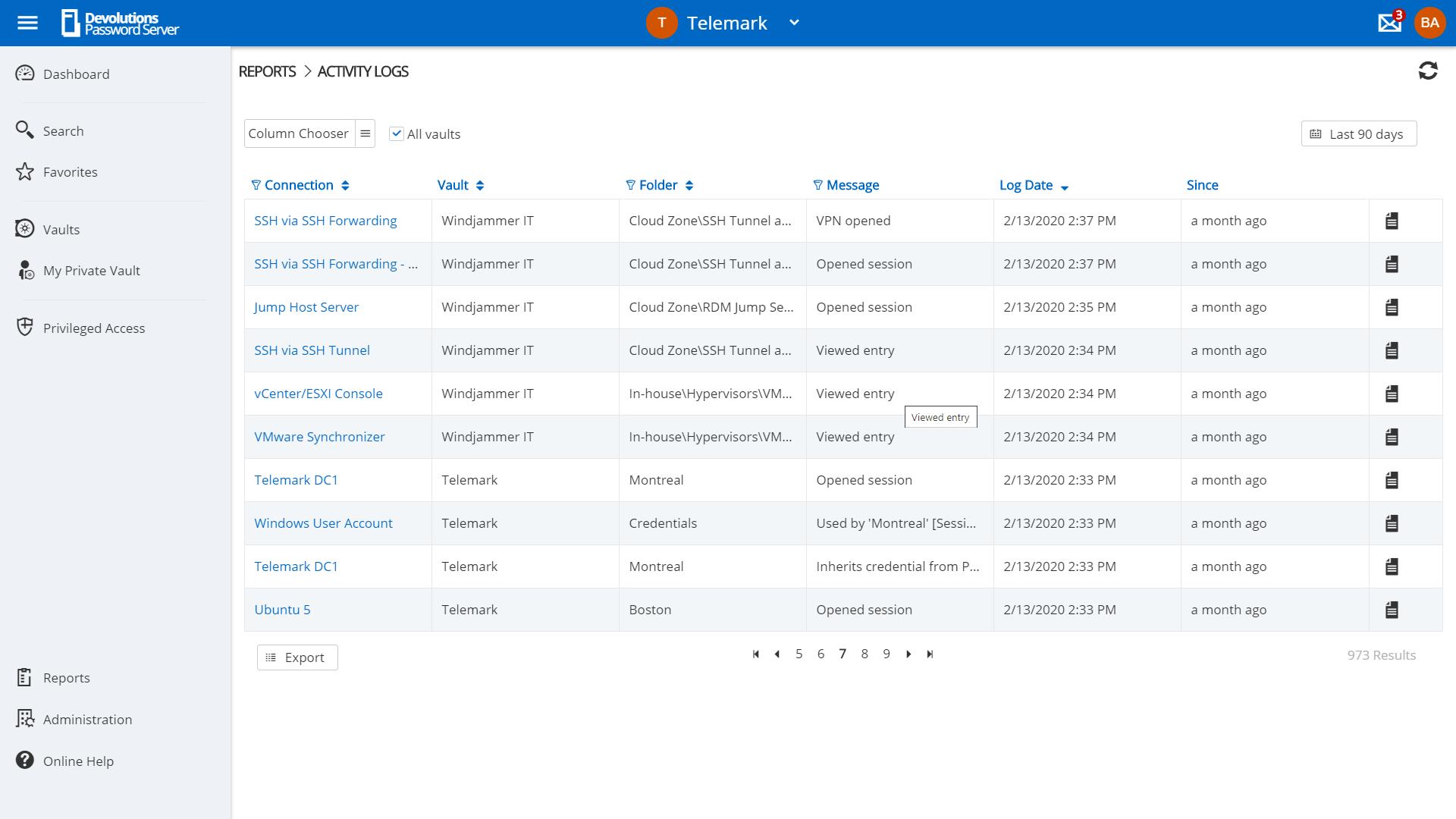 Devolutions Server Créez des rapports et des journaux détaillés