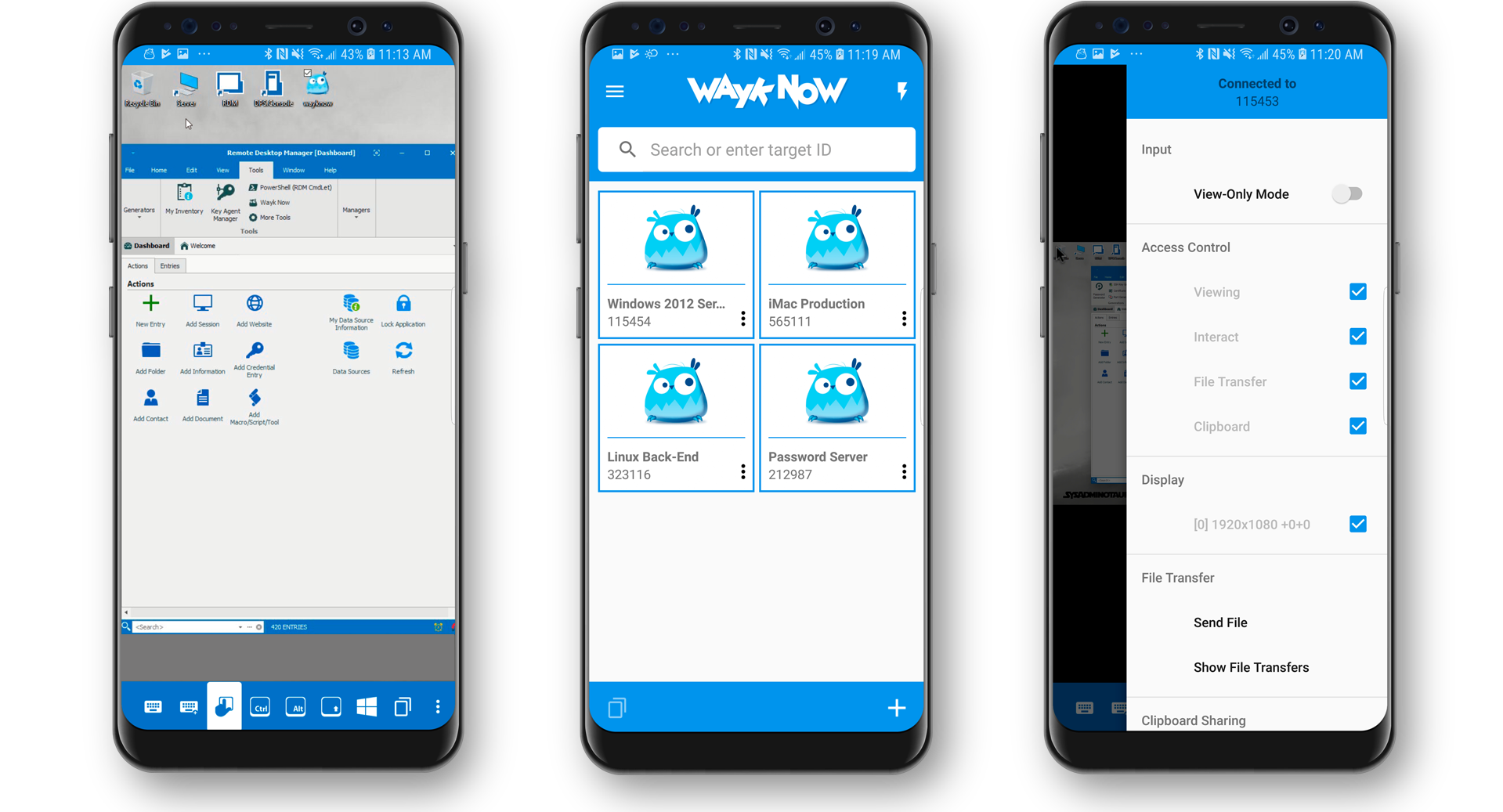 Remotely Access Multiple Devices from Your Android Device - Wayk Now